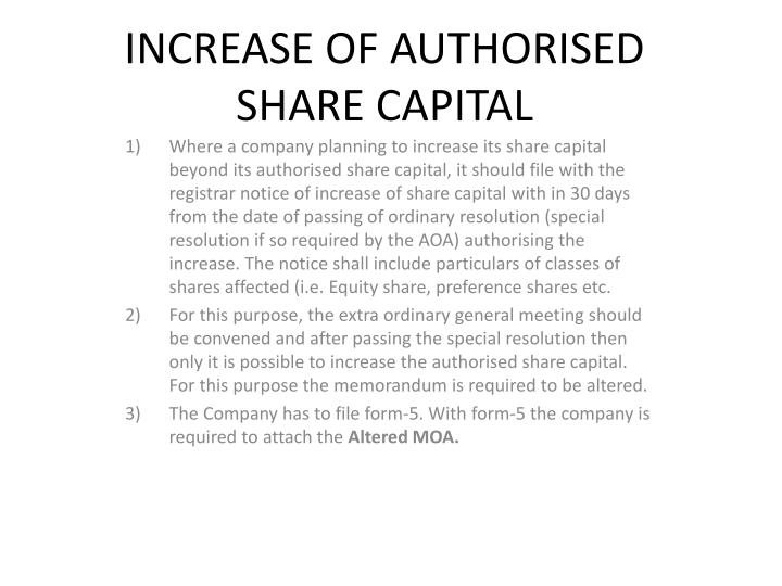 increase of authorised share capital n.