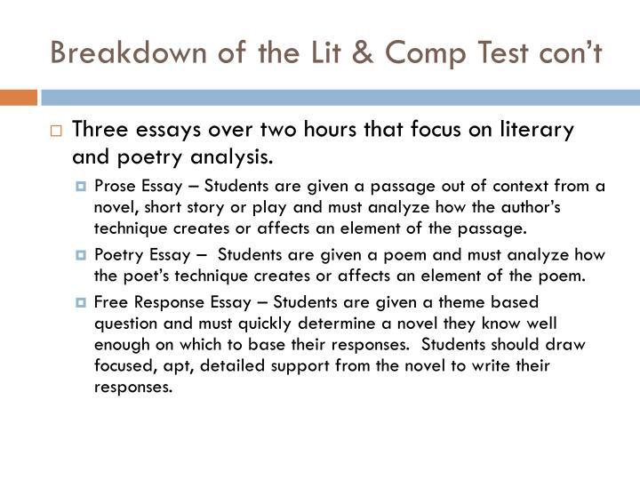 Breakdown of the Lit & Comp Test