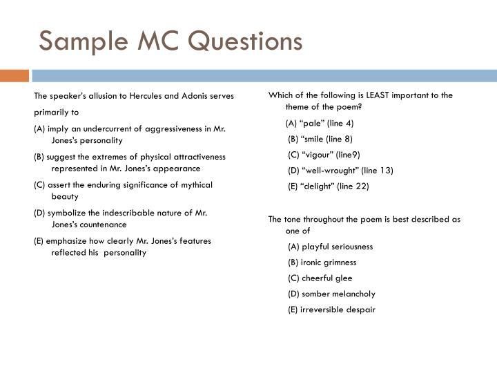 Sample MC Questions