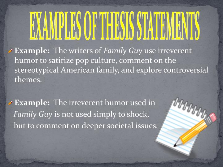 writing thesis sentence powerpoint Practice developing thesis statements with this writing introduction worksheet students will learn how to improve their writing with a strong, attention grabbing thesis statement this activity helps build writing skills by asking students to create a statement for the topics provided, such as: what was the.