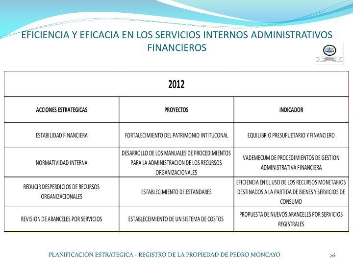 EFICIENCIA Y EFICACIA EN LOS SERVICIOS INTERNOS ADMINISTRATIVOS FINANCIEROS