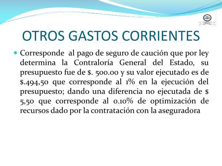 OTROS GASTOS CORRIENTES