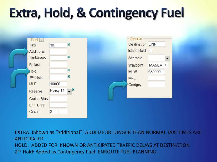 Extra, Hold, & Contingency Fuel