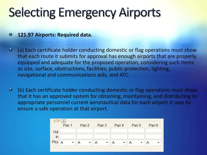 Selecting Emergency Airports