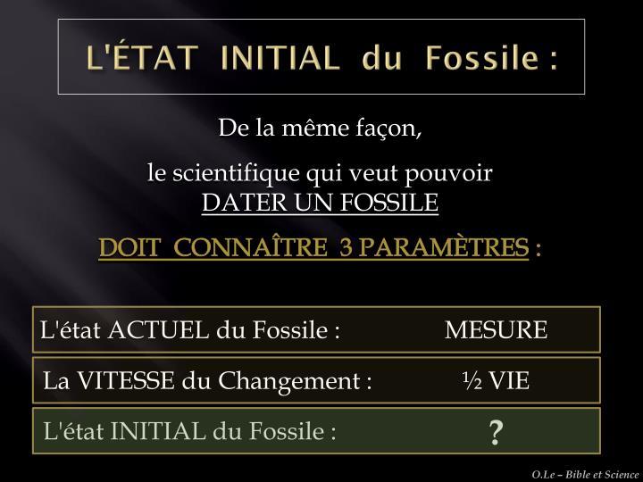 L'ÉTAT  INITIAL  du  Fossile :