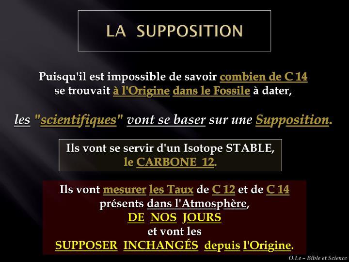LA  SUPPOSITION