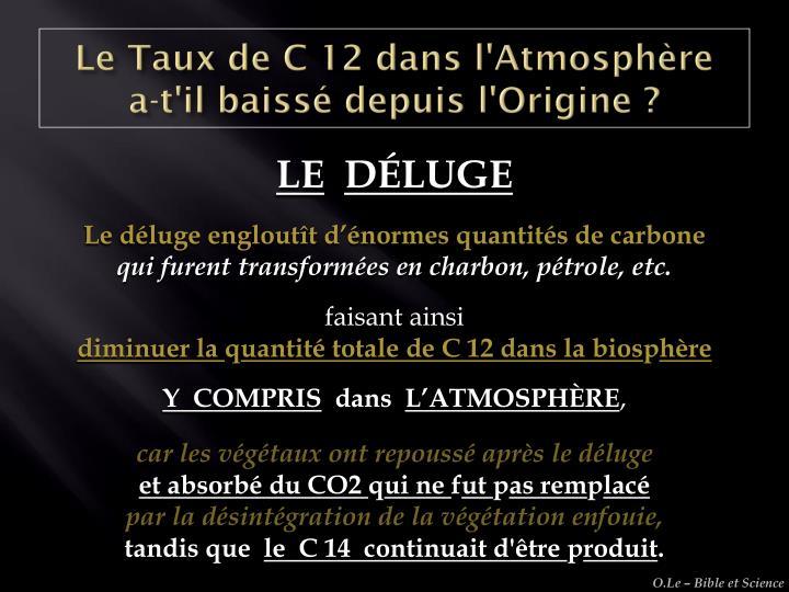 Le Taux de C 12 dans l'Atmosphère