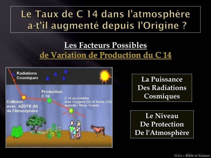 Le Taux de C 14 dans l'atmosphère