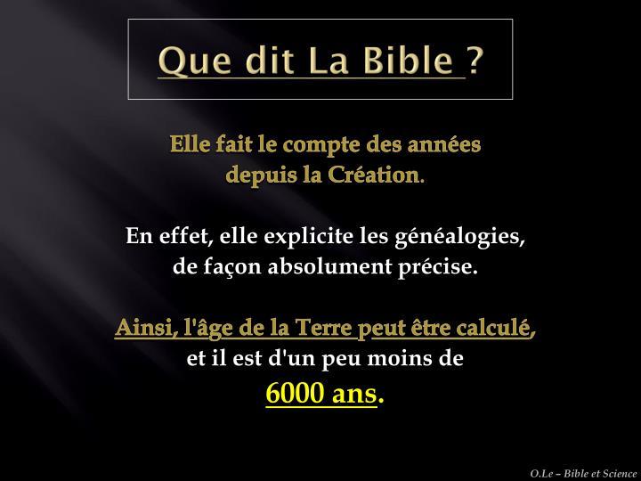 Que dit La Bible