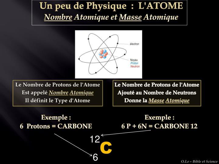 Le Nombre de Protons de l'Atome