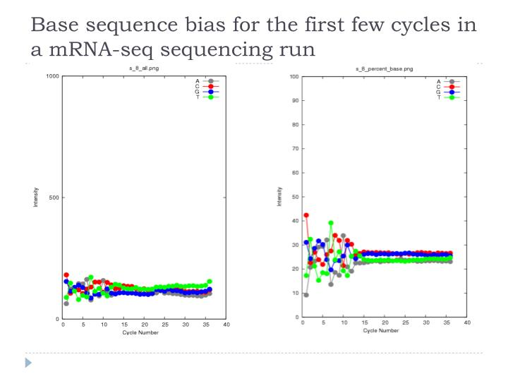 Base sequence bias for the first few cycles in a mRNA-seq sequencing run