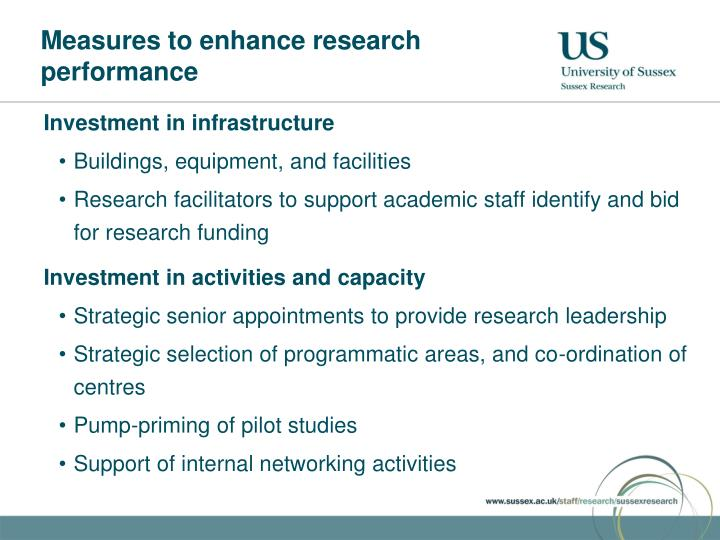 Measures to enhance research performance