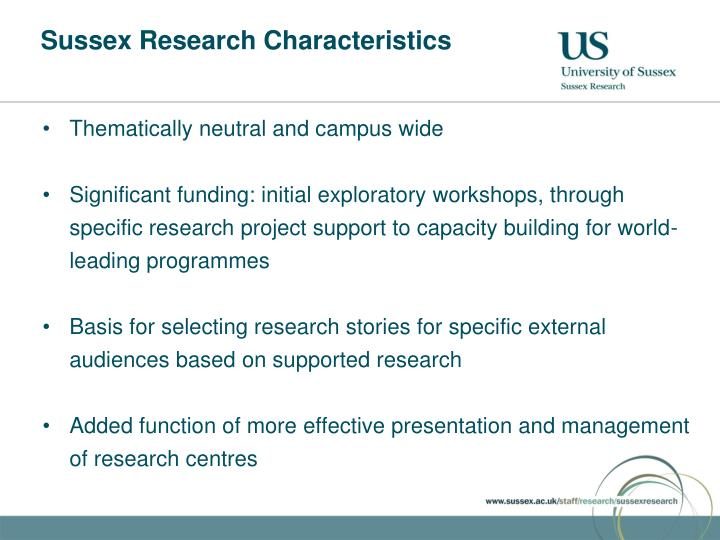 Sussex Research Characteristics