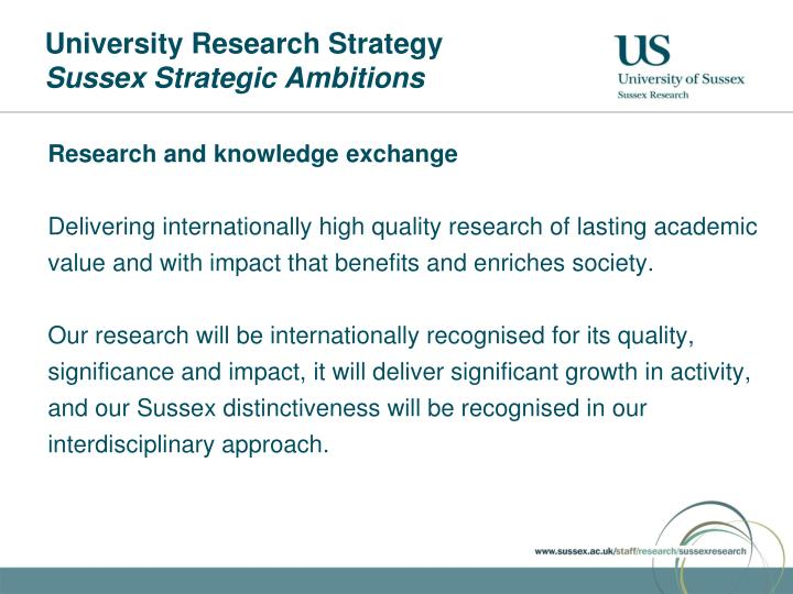 University research strategy sussex strategic ambitions