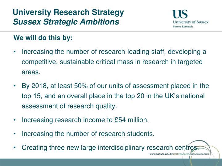 University Research Strategy