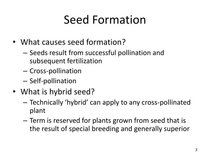 Seed formation