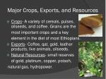 major crops exports and resources