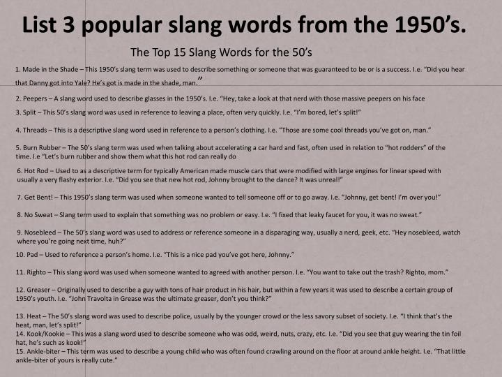 List 3 Popular Slang Words From The 1950s