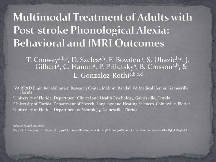 Multimodal treatment of adults with post stroke phonological alexia behavioral and fmri outcomes