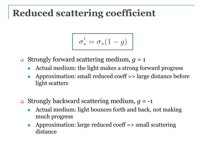 Reduced scattering coefficient