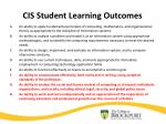 cis student learning outcomes