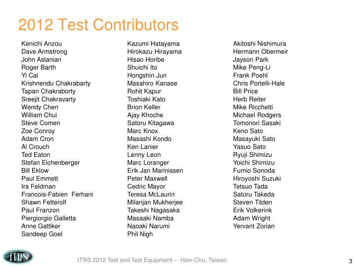 2012 test contributors
