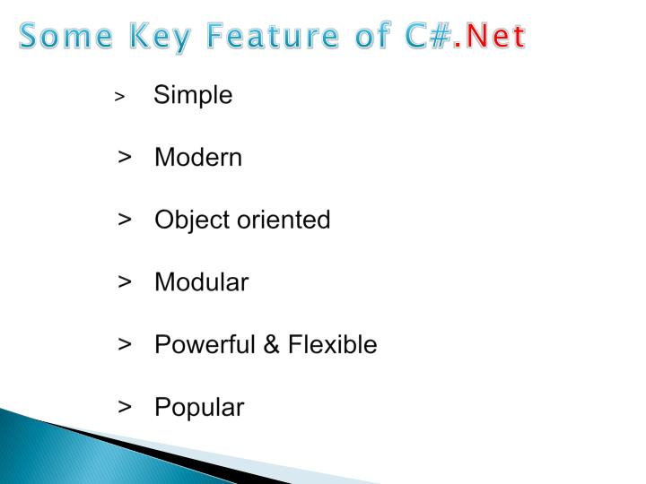 Some Key Feature of C#