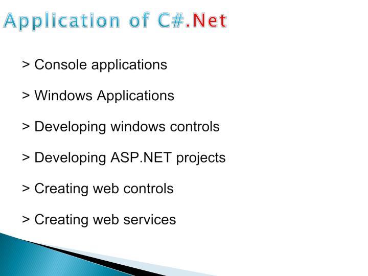 Application of C#