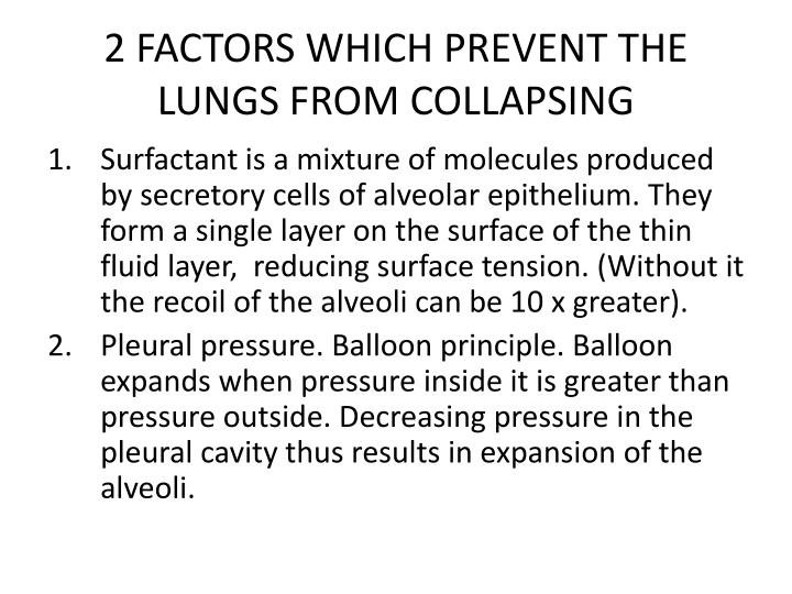 2 FACTORS WHICH PREVENT THE LUNGS FROM COLLAPSING