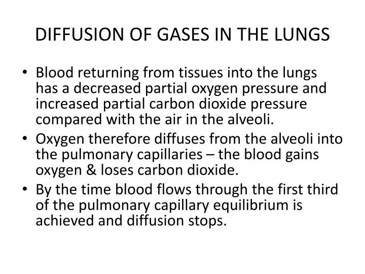 DIFFUSION OF GASES IN THE LUNGS
