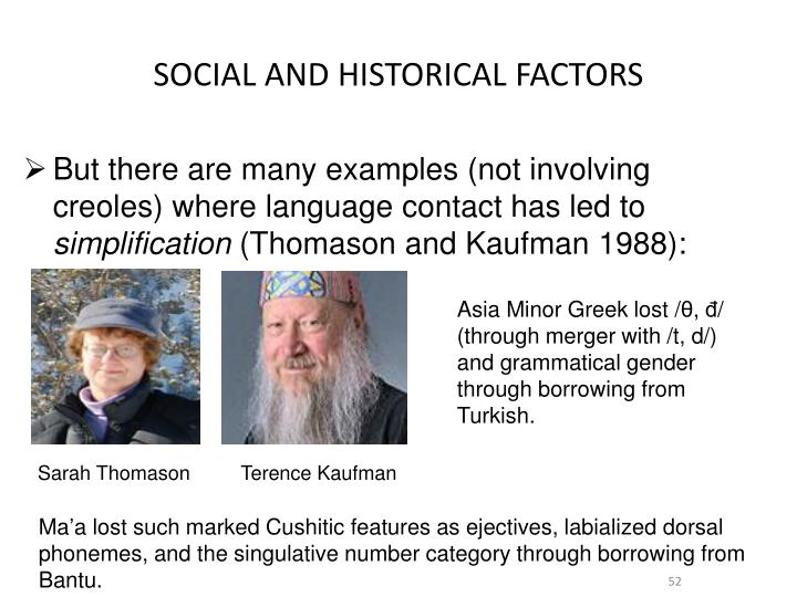 SOCIAL AND HISTORICAL FACTORS