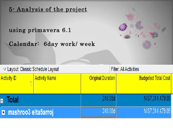 5- Analysis of the project