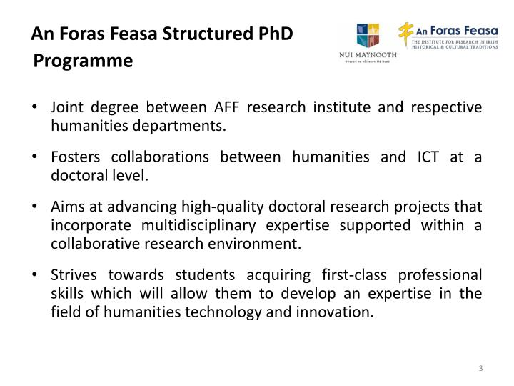 An foras feasa structured phd programme