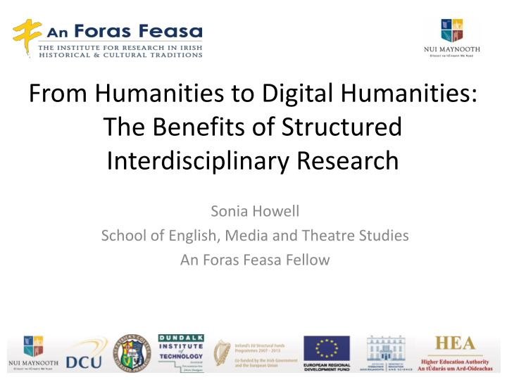 From humanities to digital humanities the benefits of structured interdisciplinary research