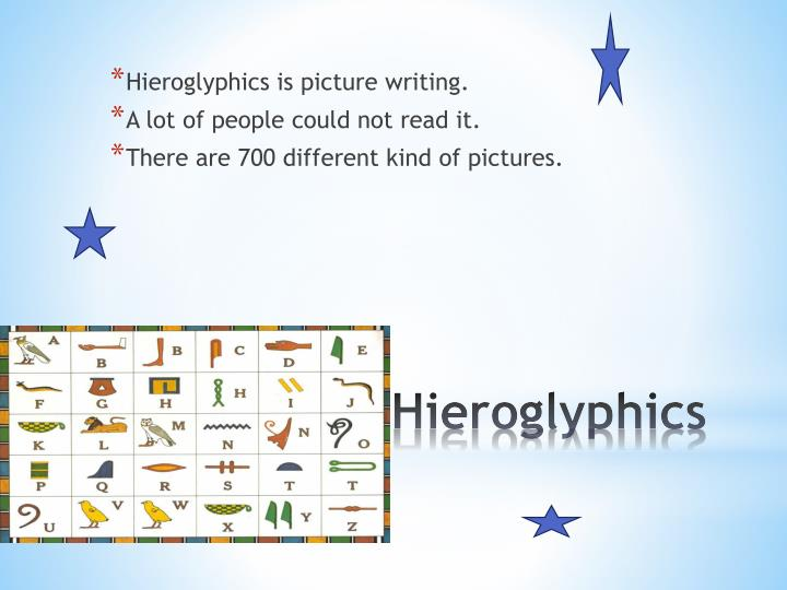 Hieroglyphics is picture writing.