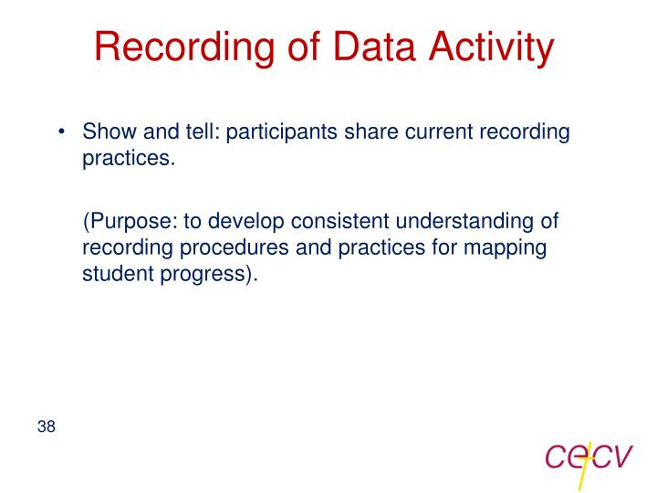 Recording of Data Activity