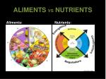 aliments vs nutrients