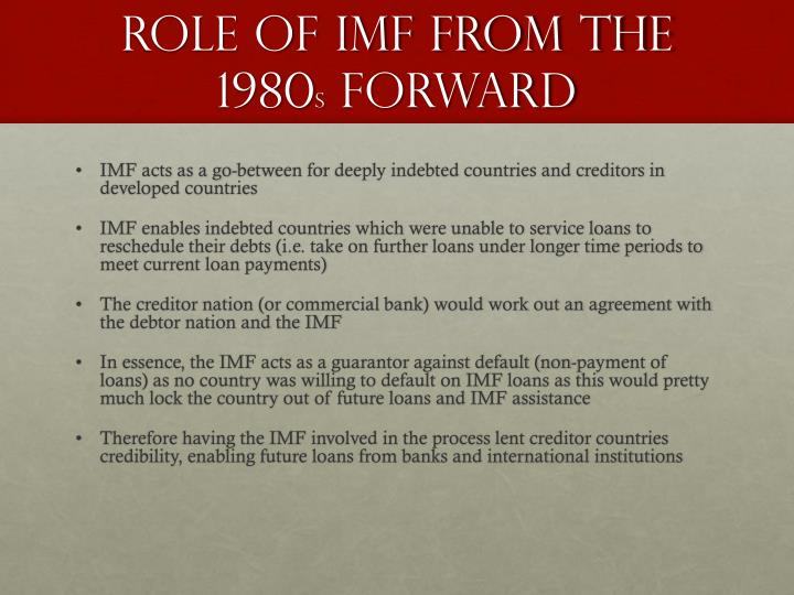 importance of imf The international monetary fund (imf) is the central institution embodying the international monetary system and promotes balanced expansion of world trade, reduced trade restrictions, stable.