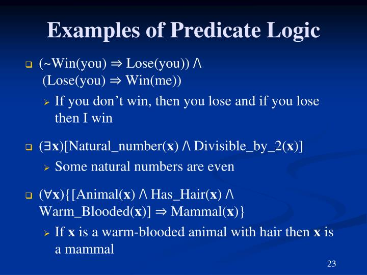 Examples of Predicate Logic