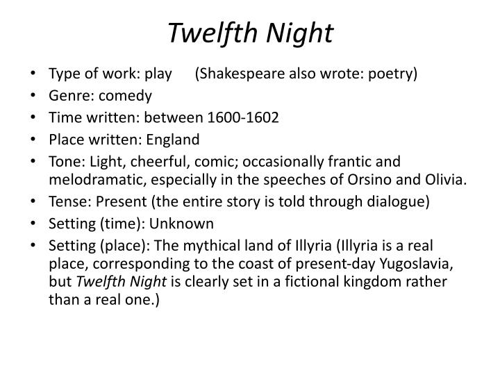 an analysis of twelfth night by william shakespeare Viola has been shipwrecked in a violent storm off the coast of illyria in the process she has lost her twin brother, sebastian she disguises herself as a boy and assumes the name cesario for protection.