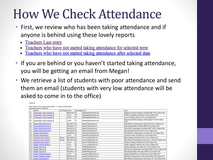 do student need to take attendence Use attend core to track attendance count by sessions, or student movements like attend he, attend core can be integrated with your existing systems and attend he and core both provide a variety of outputs to augment this or can provide for all your attendance reporting requirements.