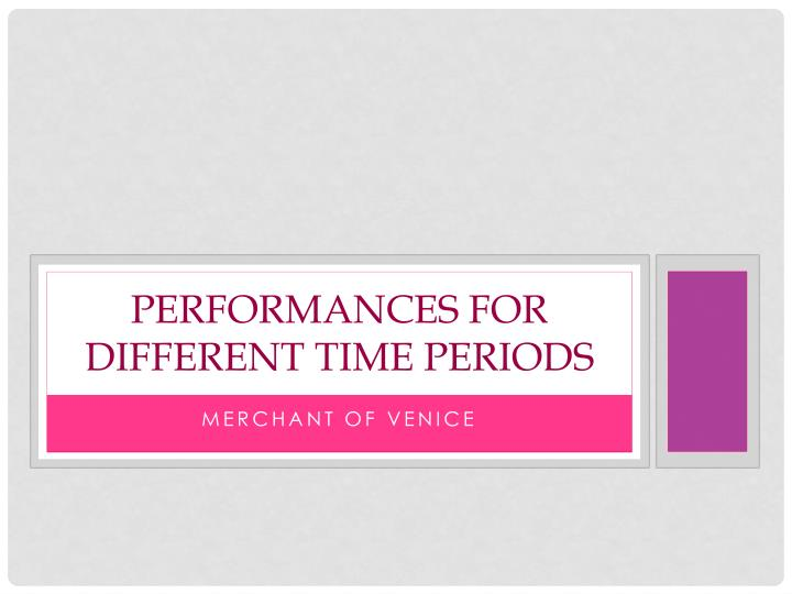 performances for different time periods n.