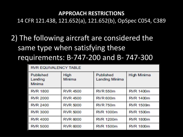 APPROACH RESTRICTIONS