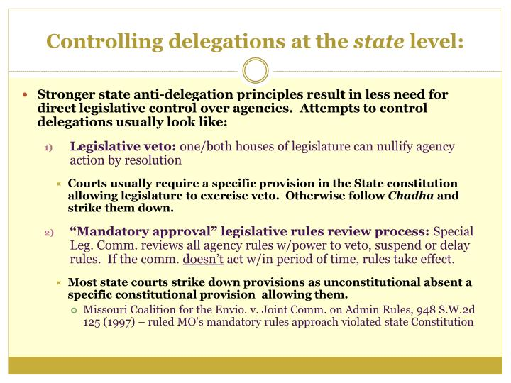 Controlling delegations at the state level