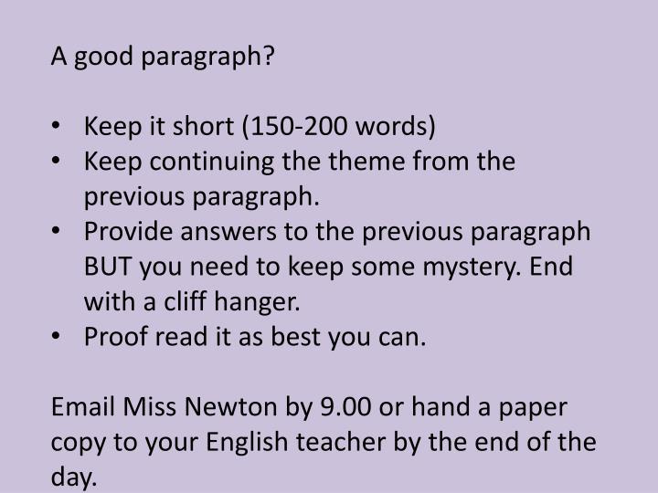 A good paragraph?