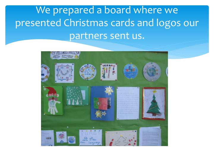 We prepared a board where we presented Christmas cards and logos our partners sent us.