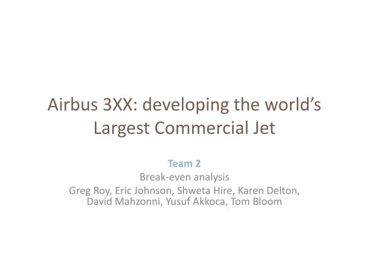 developing the worlds largest commercial jet With total sales of $456 billion in 2000, the manufacture and sale of jet aircraft is the biggest single segment of the $140 billion commercial aviation industry two firms, the boeing company and airbus industry, dominate the manufacture of large commercial aircraft.
