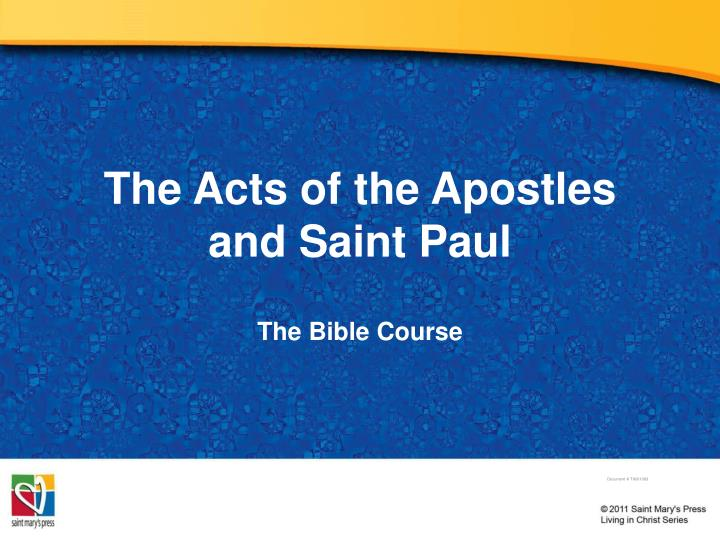 the acts of the apostles and saint paul n.