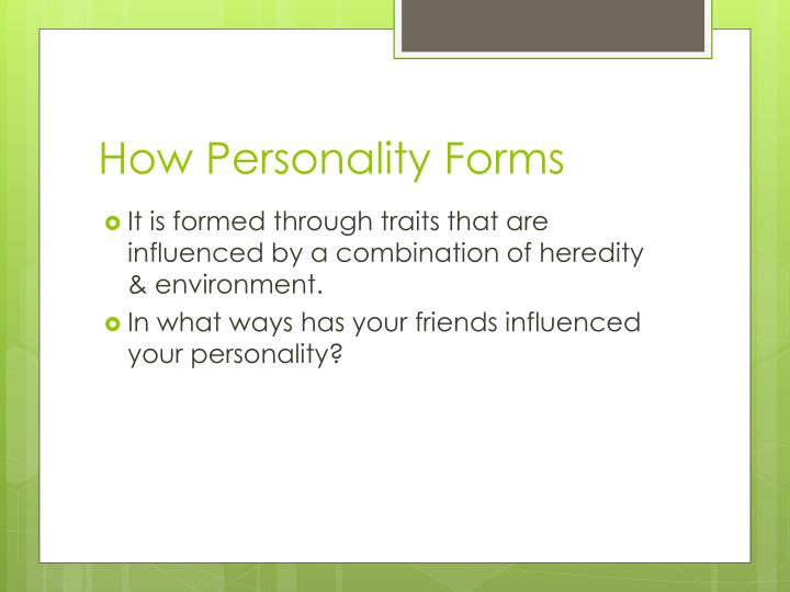 How Personality Forms