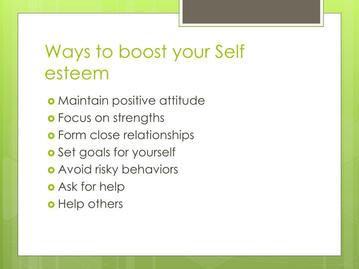 Ways to boost your Self esteem